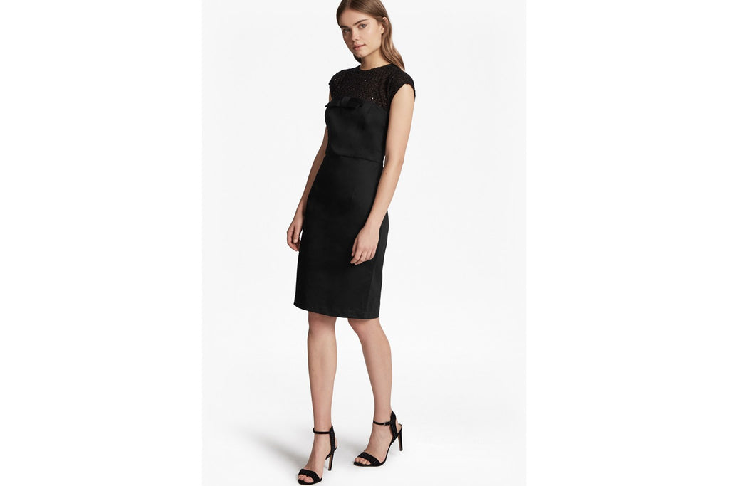 Hettie Jewel Capped Sleeves Dress  - black