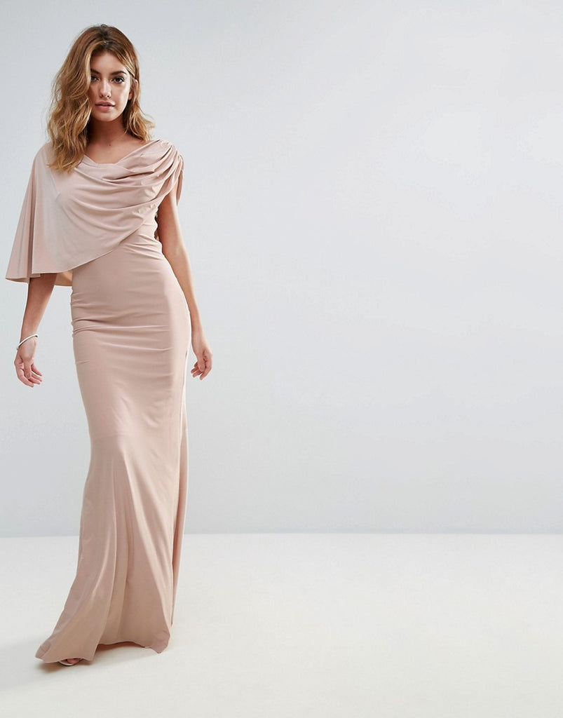 City Goddess One Shoulder Drape Maxi Dress - Beige