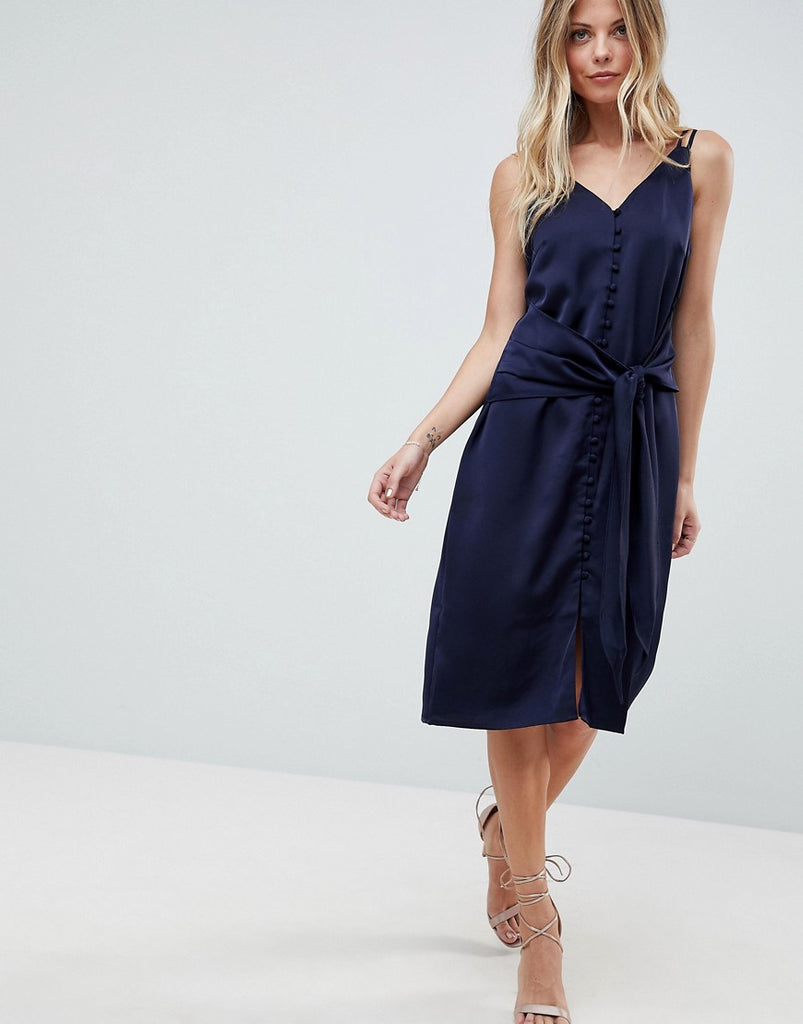 Adelyn Rae Viola Tie Slip Dress - Navy