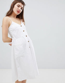 Monki Pocket Front Midi Sun Dress - White