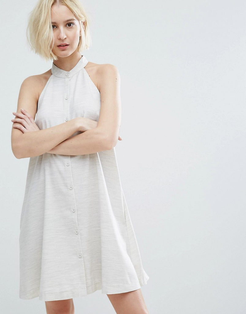 Native Youth High Neck Swing Dress With Button Front - Oatmeal