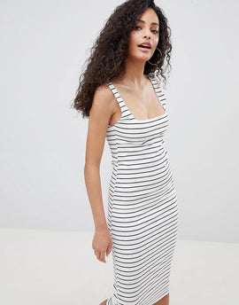 Bershka jersey midi dress in multi stripe - Multi