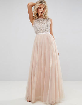 Needle & Thread Embellished Gown with Frill Detail - Petal pink
