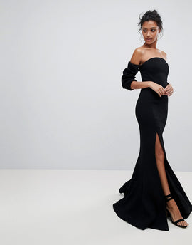 C/Meo Collective Off Shoulder Split Gown Dress - Black