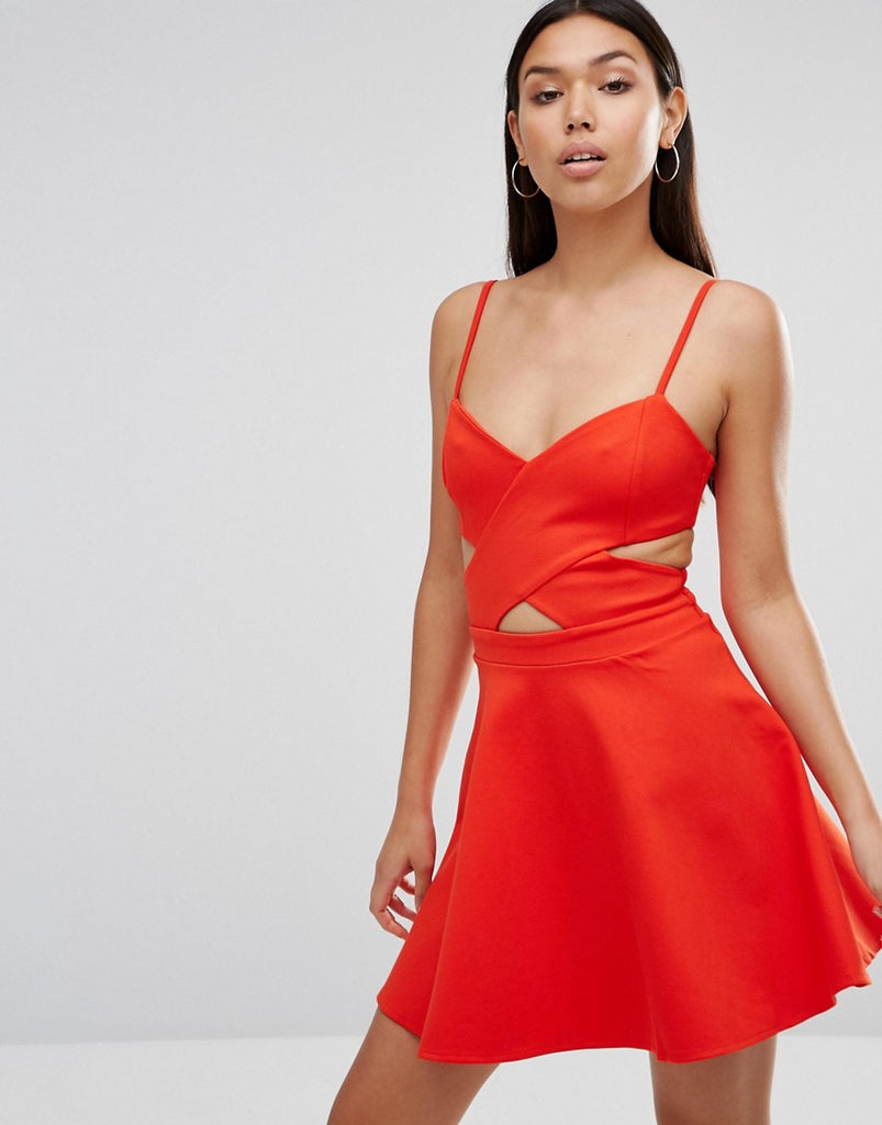 Wyldr In Love Cut Out Skater Dress - Orange