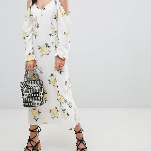 Nobody's Child Cold Shoulder Maxi Dress In Ditsy Floral - White floral