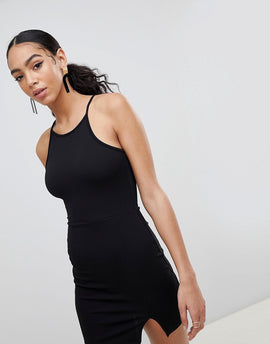 PrettyLittleThing High Neck Bodycon Dress - Black
