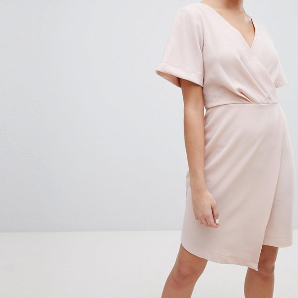 Closet London Wrap Front Mini Shift Dress - Nude