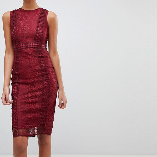 Ax Paris Premium Lace Midi Dress - Wine