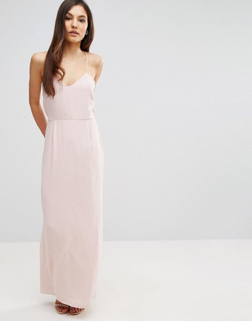 Elise Ryan Cami Strap Maxi Dress With Dipped Lace Back - Nude
