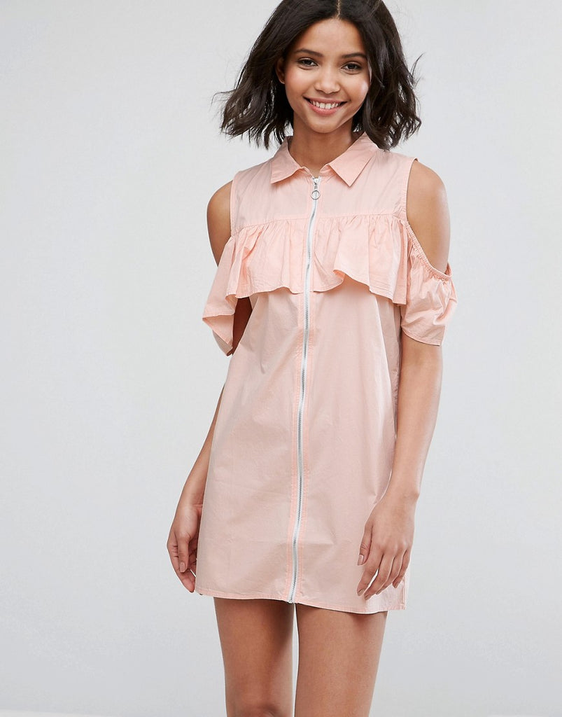 Influence Cold Shoulder Frill Dress With Zip Detail - Pink