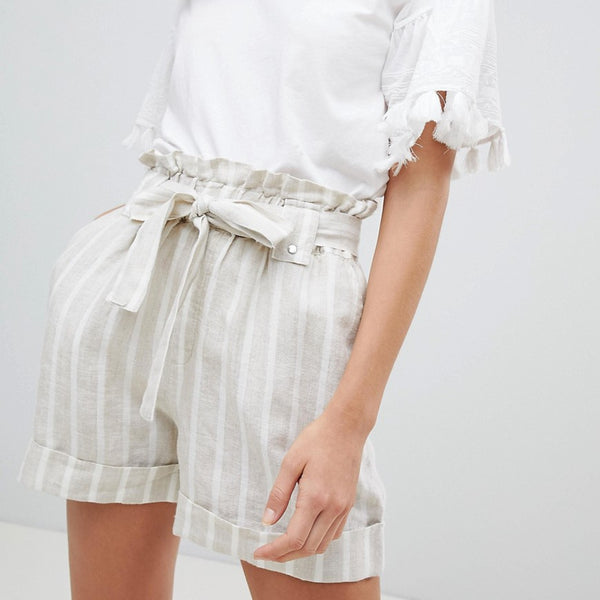 Mango Stripe Tie Wasist Turn Up Shorts - Multi