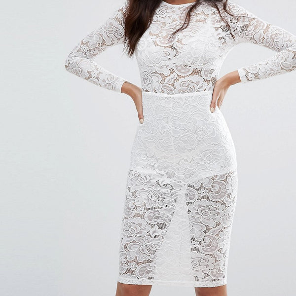 Misha Collection Sheer Lace Pencil Dress - Ivory