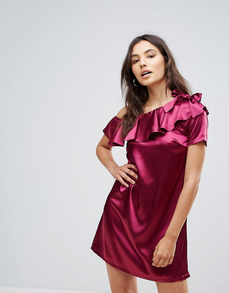 Rage One Shoulder Satin Dress With Bow Detail - Plum