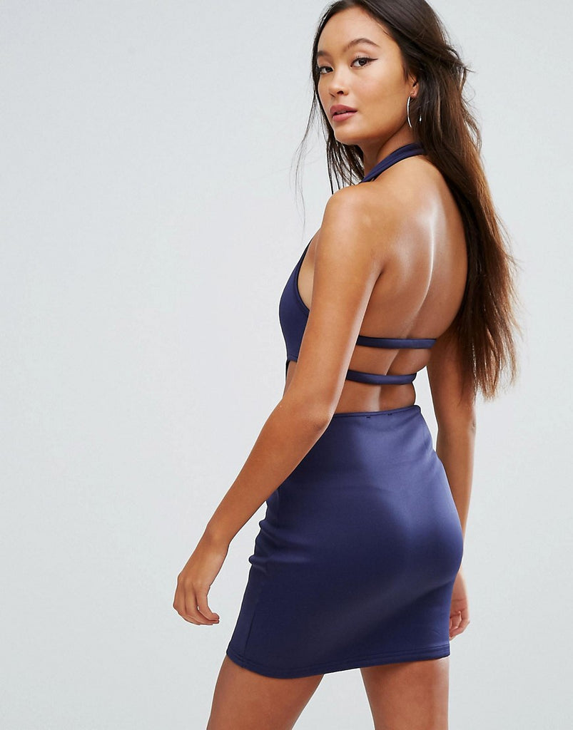 Glamorous Cut Out Bodycon Dress - Navy