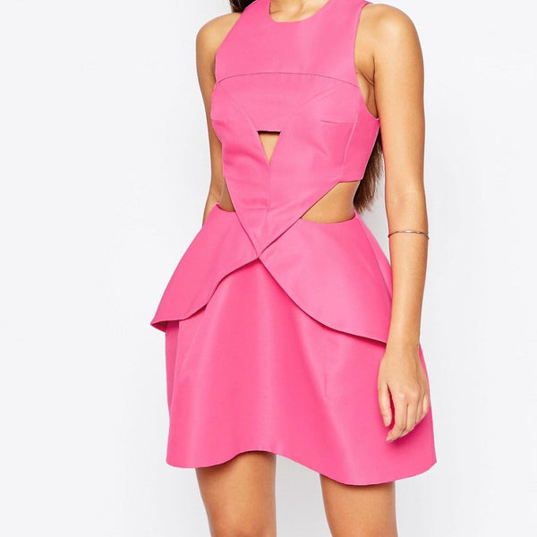 AQ/AQ Daria Mini Dress With Pleat Front - Pretty pink