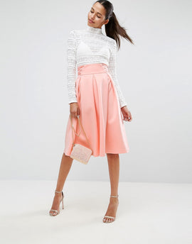 ASOS Scuba Prom Skirt with Corset Waist Detail - Peach