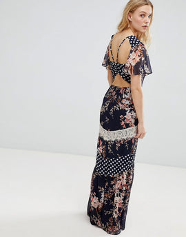 Hope & Ivy Mix And Match Printed Maxi Dress With Lace Trim Detail - Navy base print