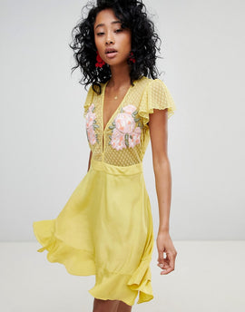 Cleobella Ruffle Mini Dress with Floral Embroidery - Chartreuse