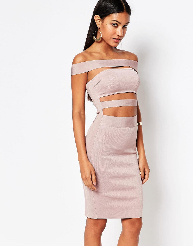 WOW Couture Off Shoulder Bandage Dress - Dusky wineberry