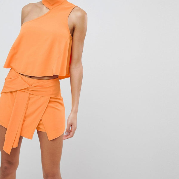 Parallel Lines Asymmetric Tie Shorts Co-Ord - Mango