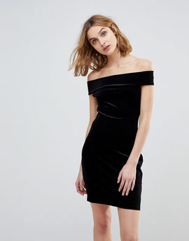 French Connection Lula Stretch Velvet Off Shoulder Dress - Black