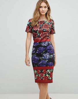 City Goddess Boat Neck Floral Pencil Dress - Navy