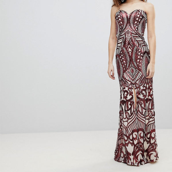 Bariano Embellished Bandeau Maxi Dress - Red sequin