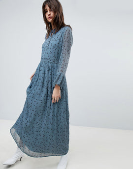 Gestuz Maxi Dress With Blue Flower Print - Blue flower