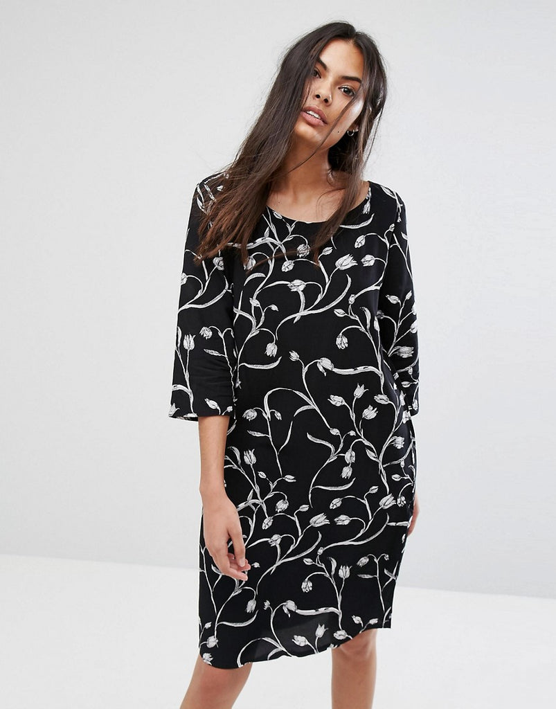 Selected Lilica Printed Shift Dress - Black