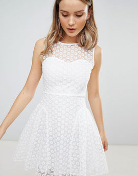 Zibi London Crochet Skater Dress - White
