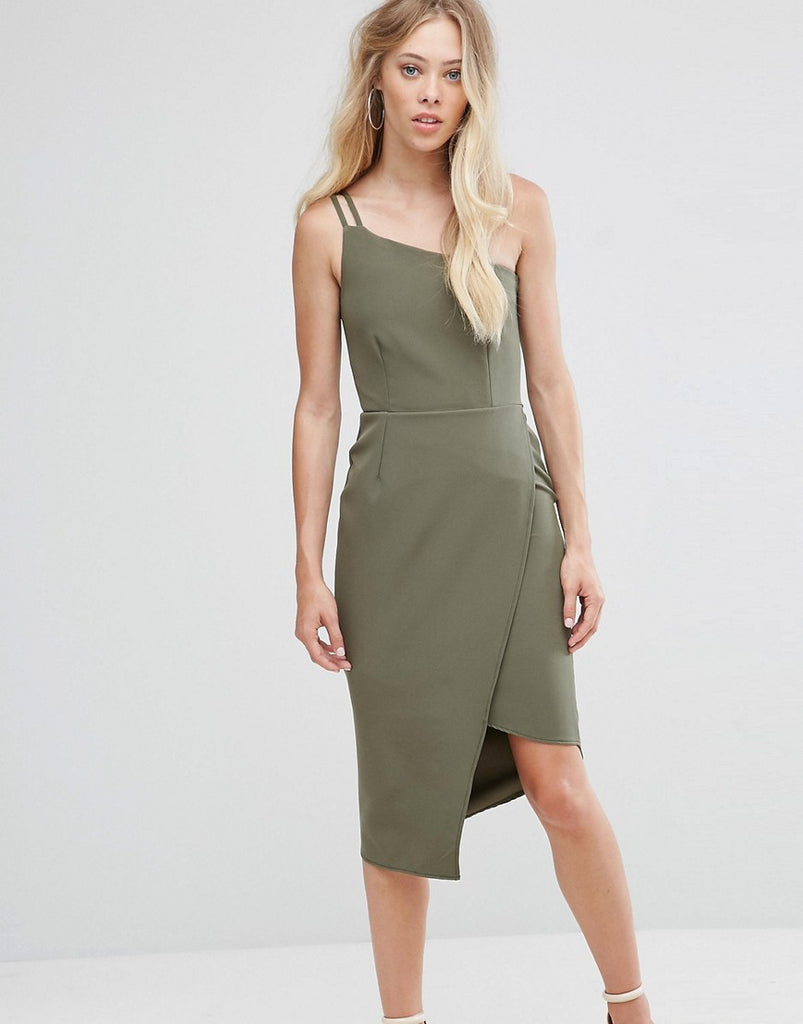 Oh My Love One Shoulder Midi Dress - Khaki