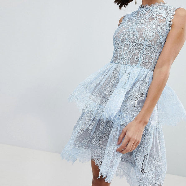 Bronx and Banco Tiered Mini Dress in Lace - Blue