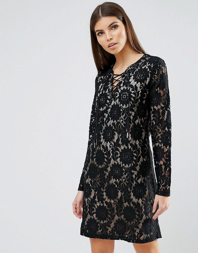 b.Young Lace Mini Dress - Black