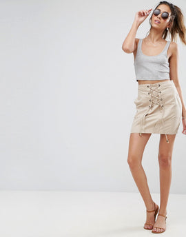 ASOS Mini Skirt with Lace Up Detail - Stone