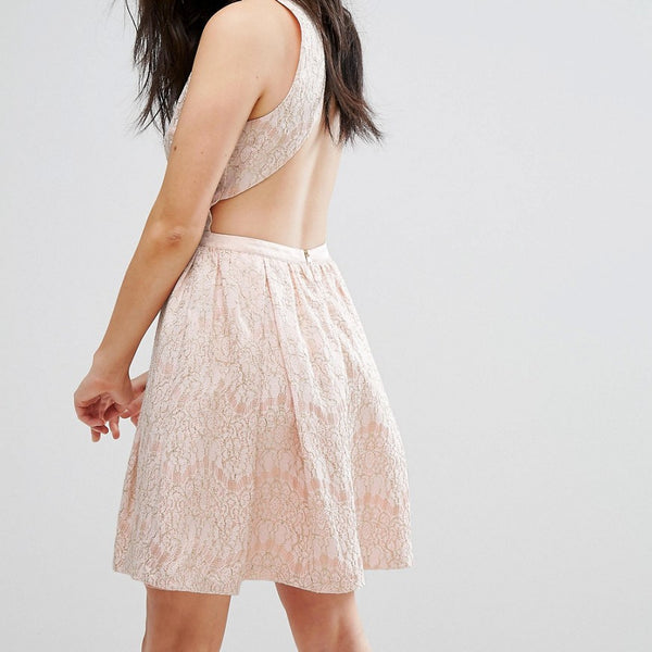 The English Factory Sleeveless Lace Skater Dress - Peach