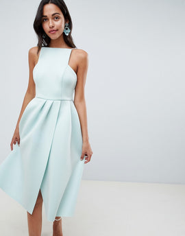 ASOS DESIGN strappy open back prom dress - Dusty aqua