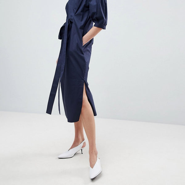 ASOS WHITE Tie Waist Midi Dress - Navy