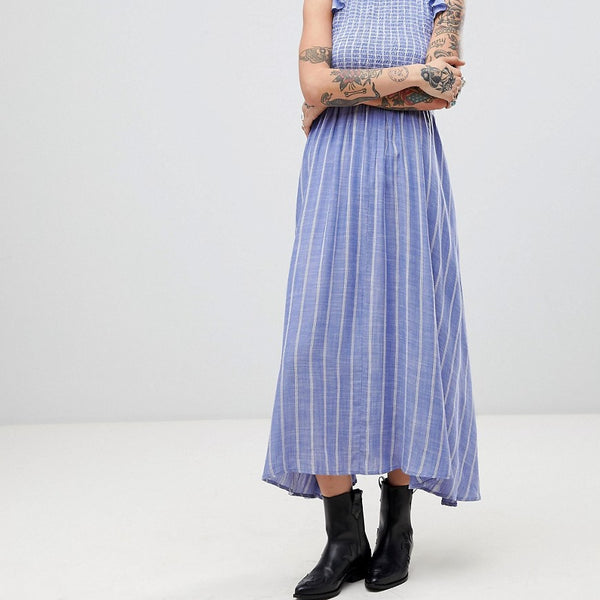 Free People Chambray Butterflies Midi Dress - Blue