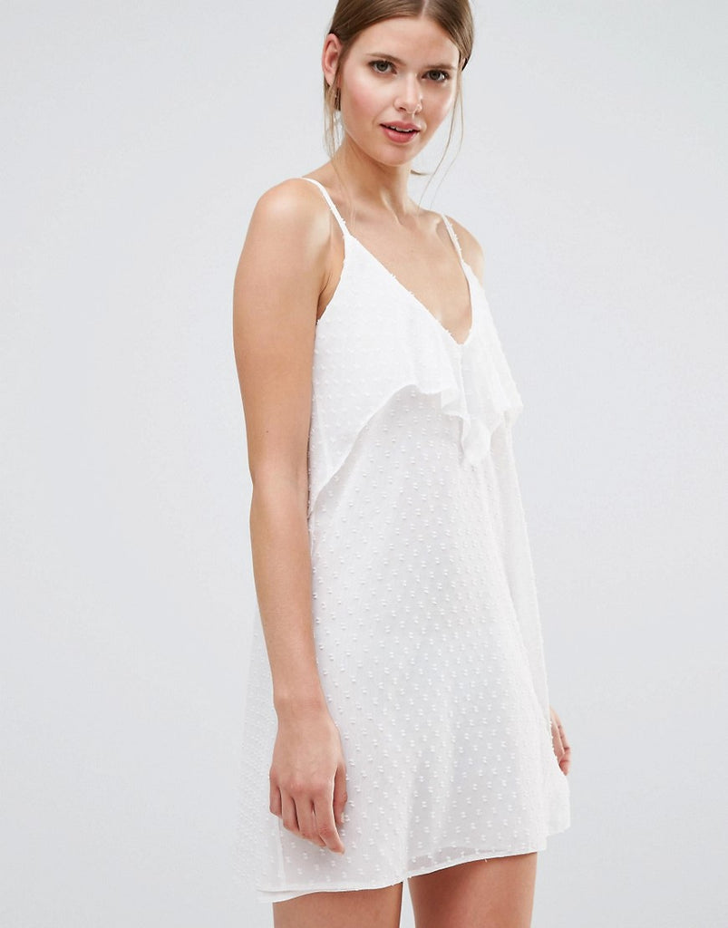 Oh My Love Frill Front Cami Dress - Cream