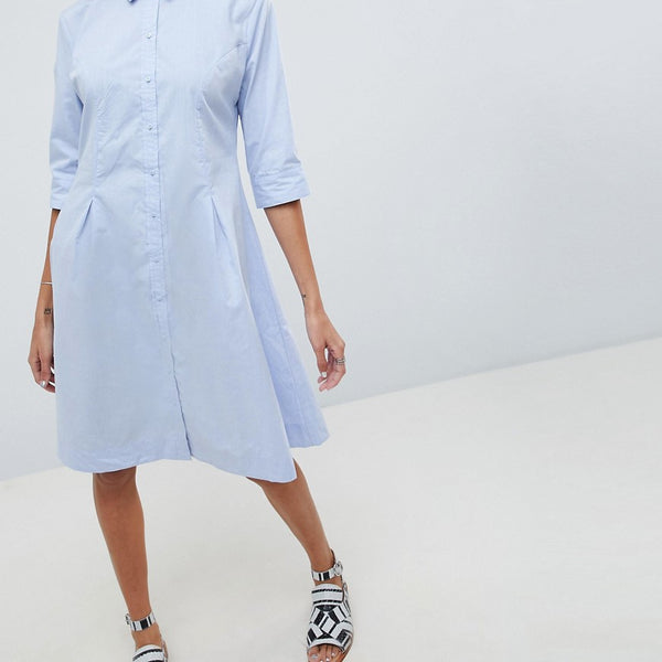 b.Young Shirt Dress - Sky blue
