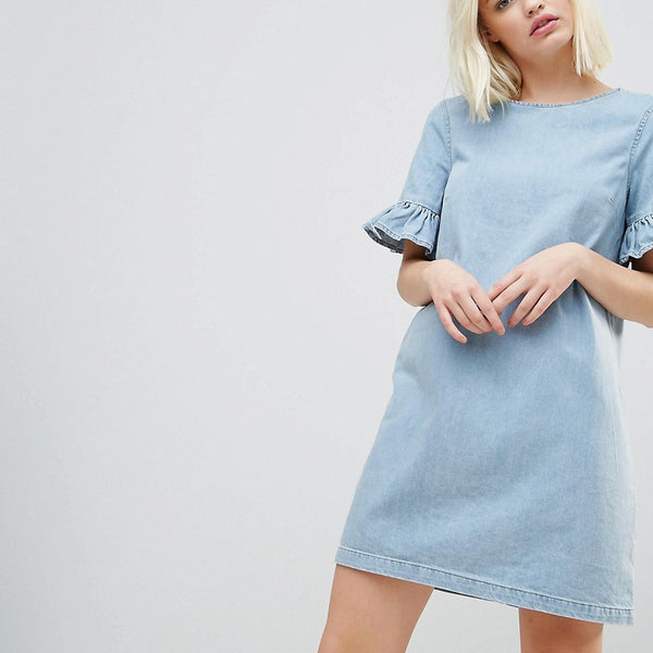 Chorus Frill Sleeve Denim Mini Dress - Worn nidigo