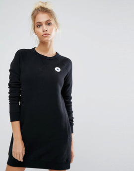 Converse Core Sweatshirt Dress In Black - Black