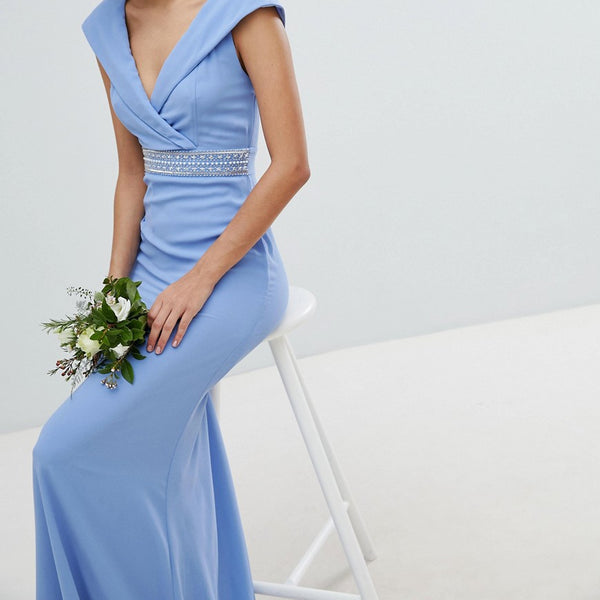 TFNC Bardot Maxi Bridesmaid Dress With Fishtail and Embellished Waist - Bluebell