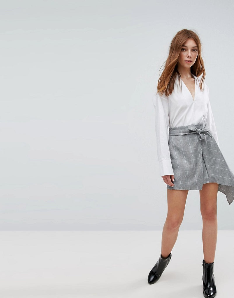 Bershka Heritage Check Asymmetric Skirt - Grey