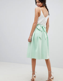 ASOS DESIGN scuba prom skirt with bow back detail - Mint
