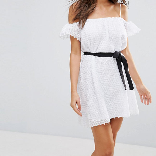 Little White Lies Veronique Cold Shoulder Dress - White