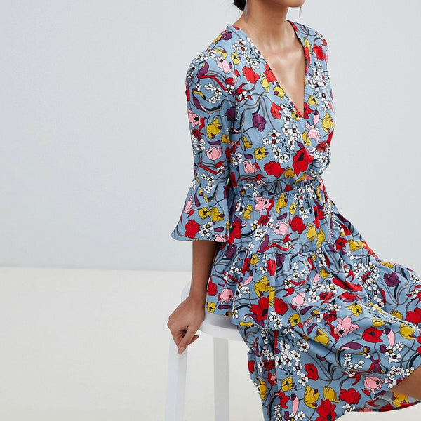 Y.A.S Bold Floral Wrap Dress With Ruffles - Multi