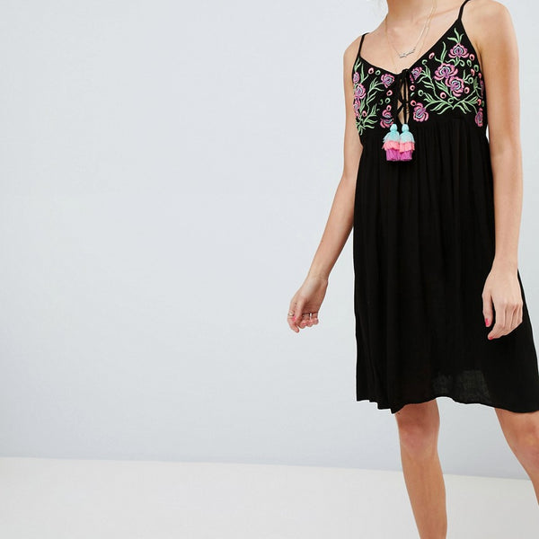 Glamorous Cami Dress With Embroidered Panel And Tassle Ties - Black