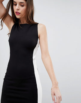 French Connection Ponte Contrast Panel Dress - Black
